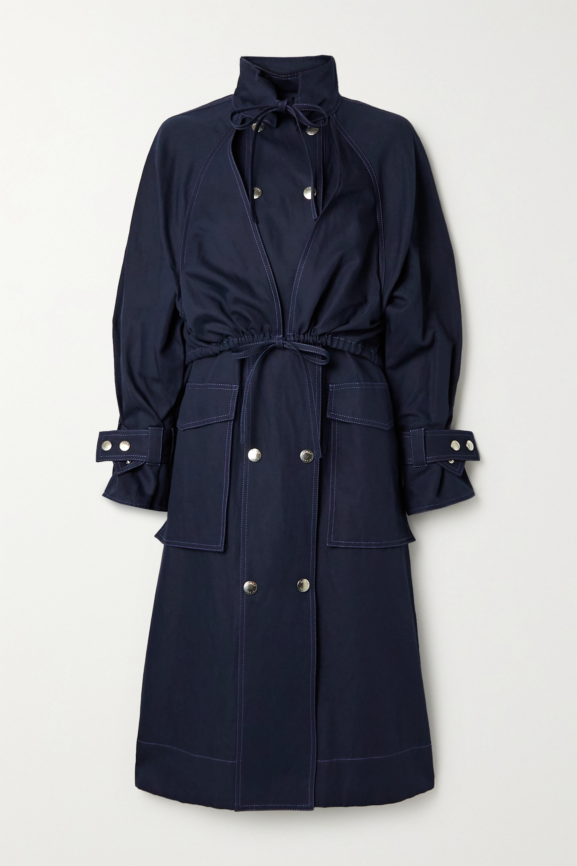 Cotton and linen-blend gabardine coat