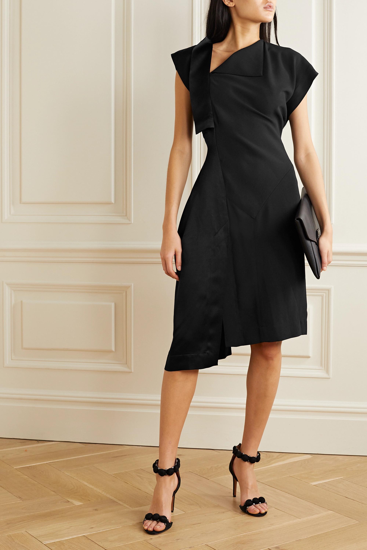 Paneled crepe and satin dress