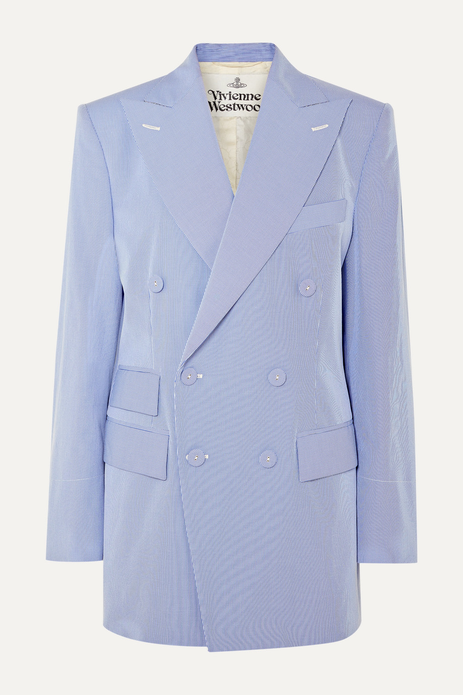 Vivienne Westwood 大廓形双排扣细条纹棉质混纺西装外套