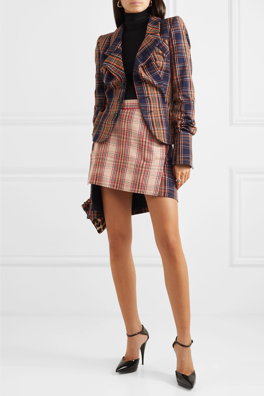 Vivienne Westwood Case asymmetric checked cotton-twill wrap mini skirt