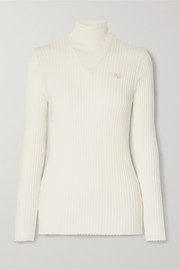 Embroidered ribbed cotton turtleneck sweater