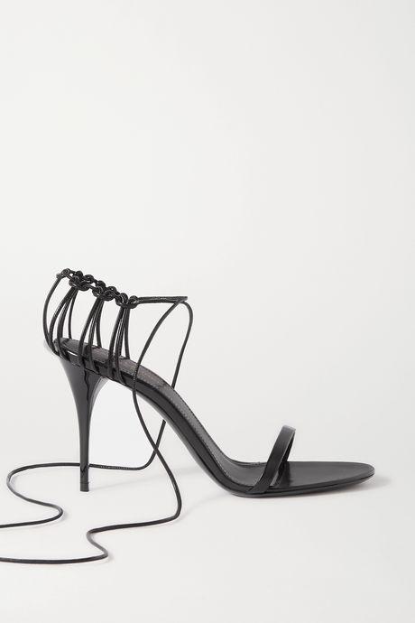 Black Lexi lace-up leather sandals | SAINT LAURENT F6B3lB
