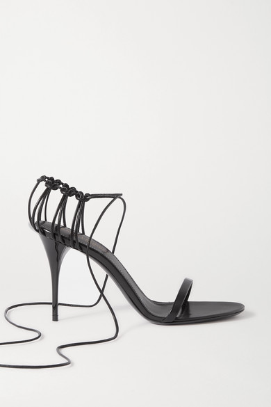 Saint Laurent Lexi Wraparound Cage-heel Leather Sandals In Black