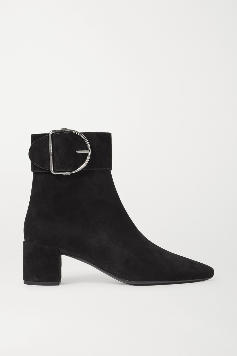 SAINT LAURENT Charlie buckled suede ankle boots