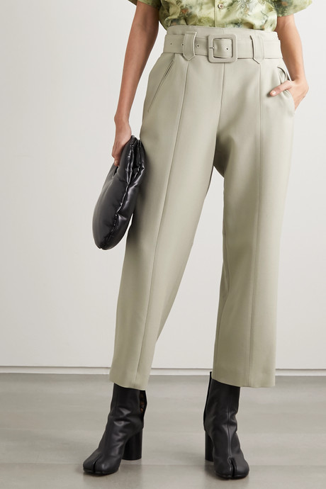 Belted wool tapered pants