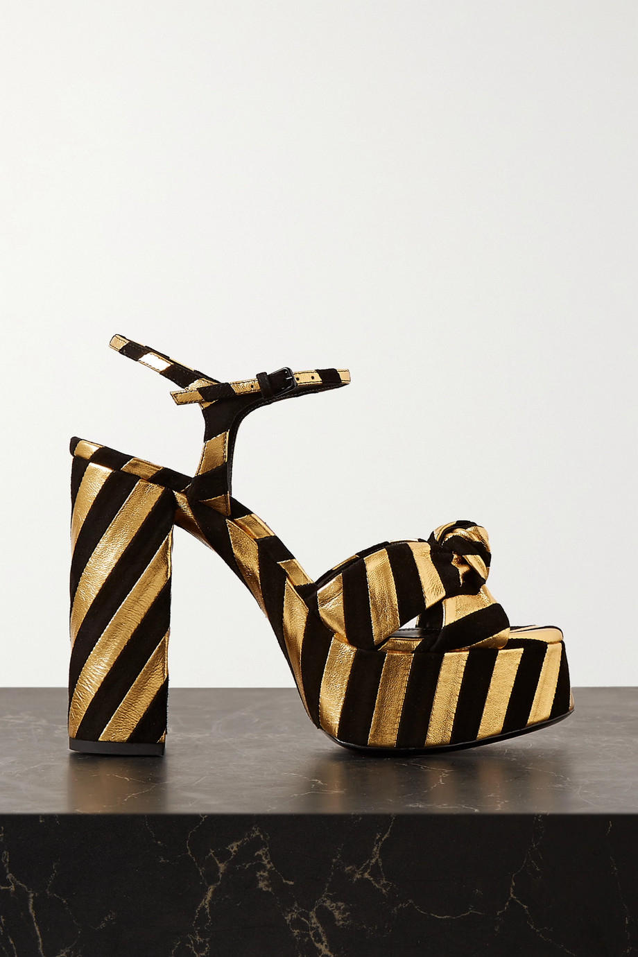 SAINT LAURENT Bianca knotted suede and metallic textured-leather platform sandals