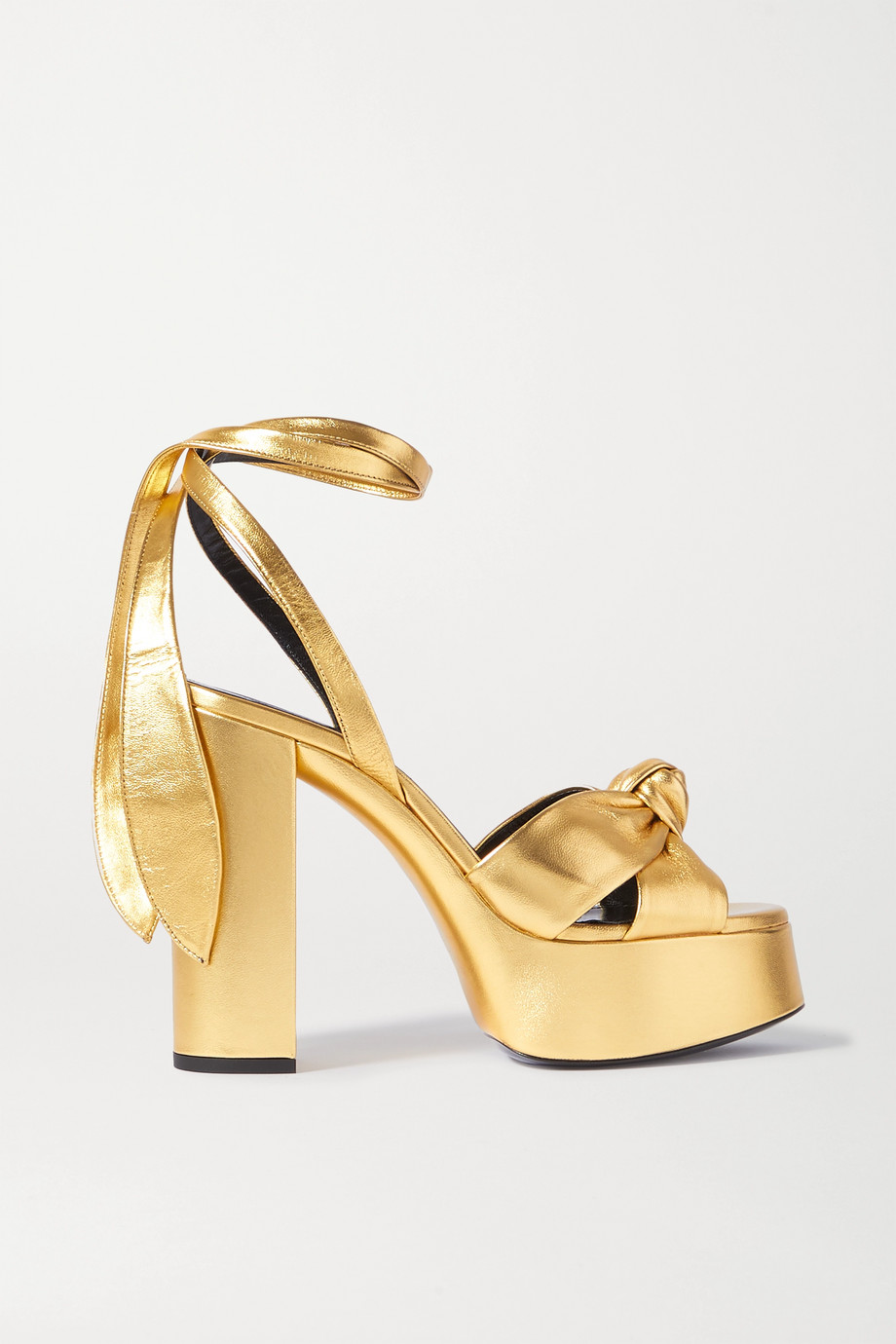 SAINT LAURENT Bianca 系带式金属感皮革防水台凉鞋