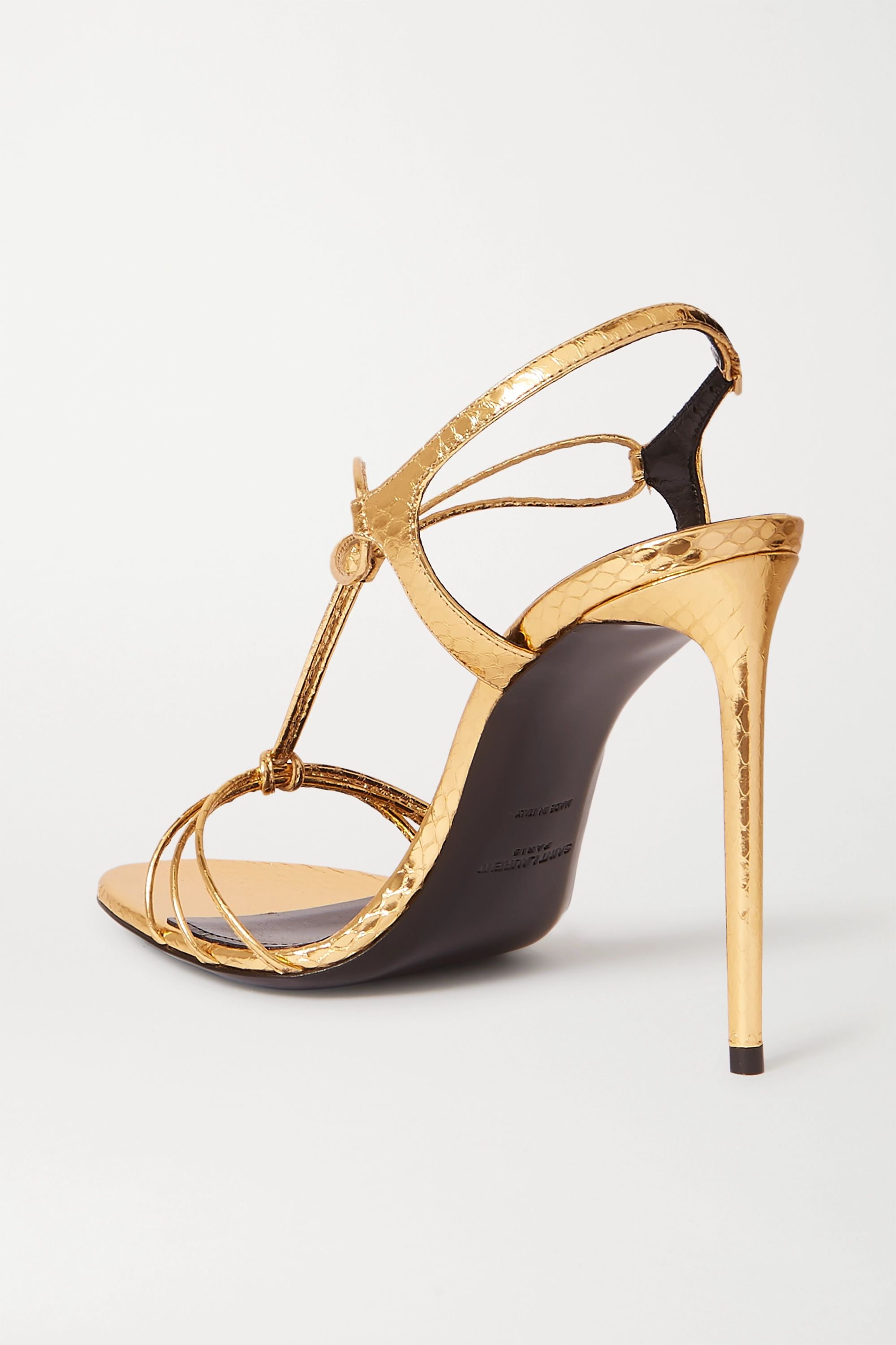 SAINT LAURENT Robin metallic watersnake sandals
