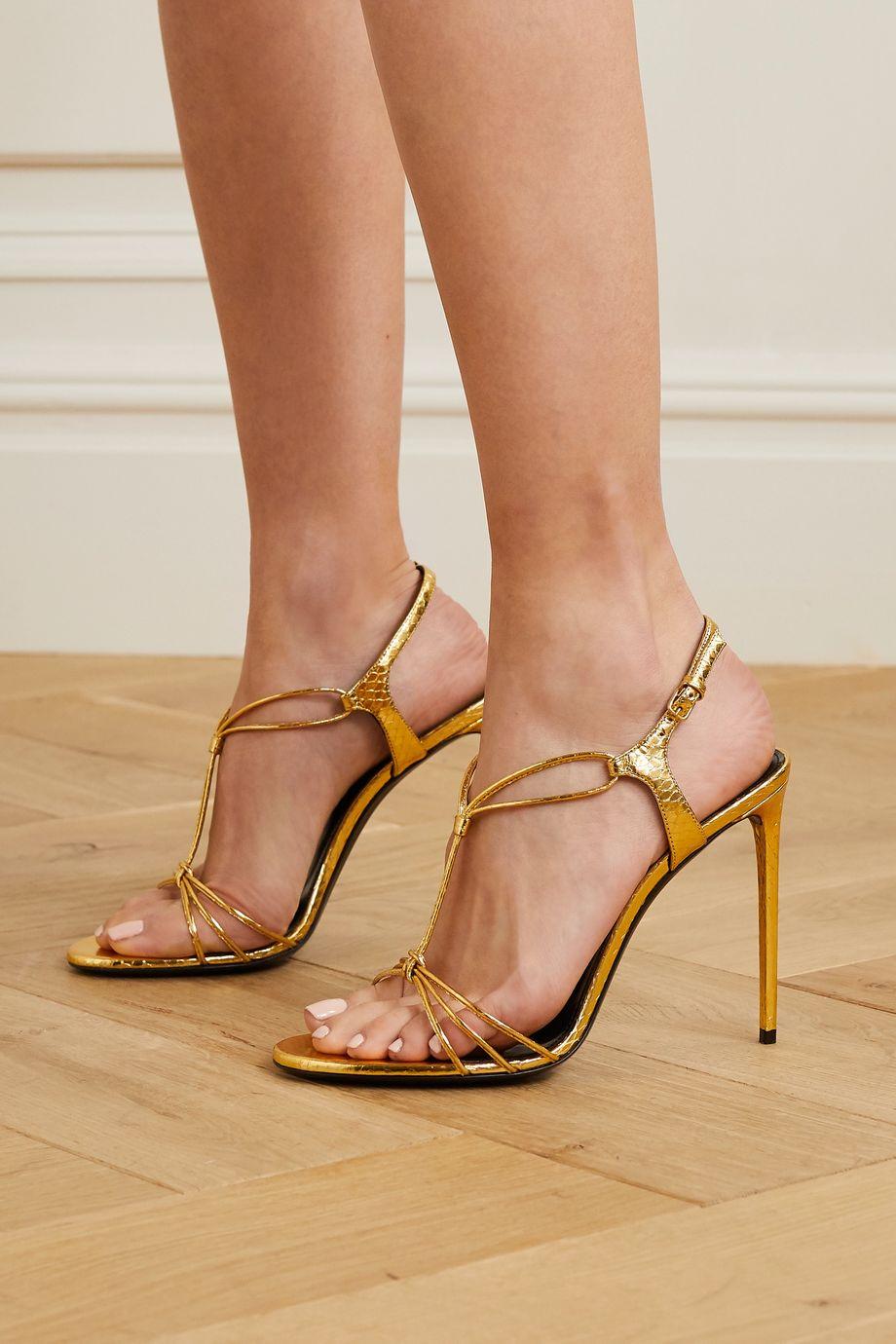 SAINT LAURENT Robin metallic watersnake sandals