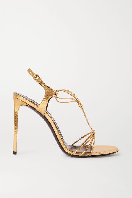 Gold Robin metallic watersnake sandals | SAINT LAURENT LNZrKC