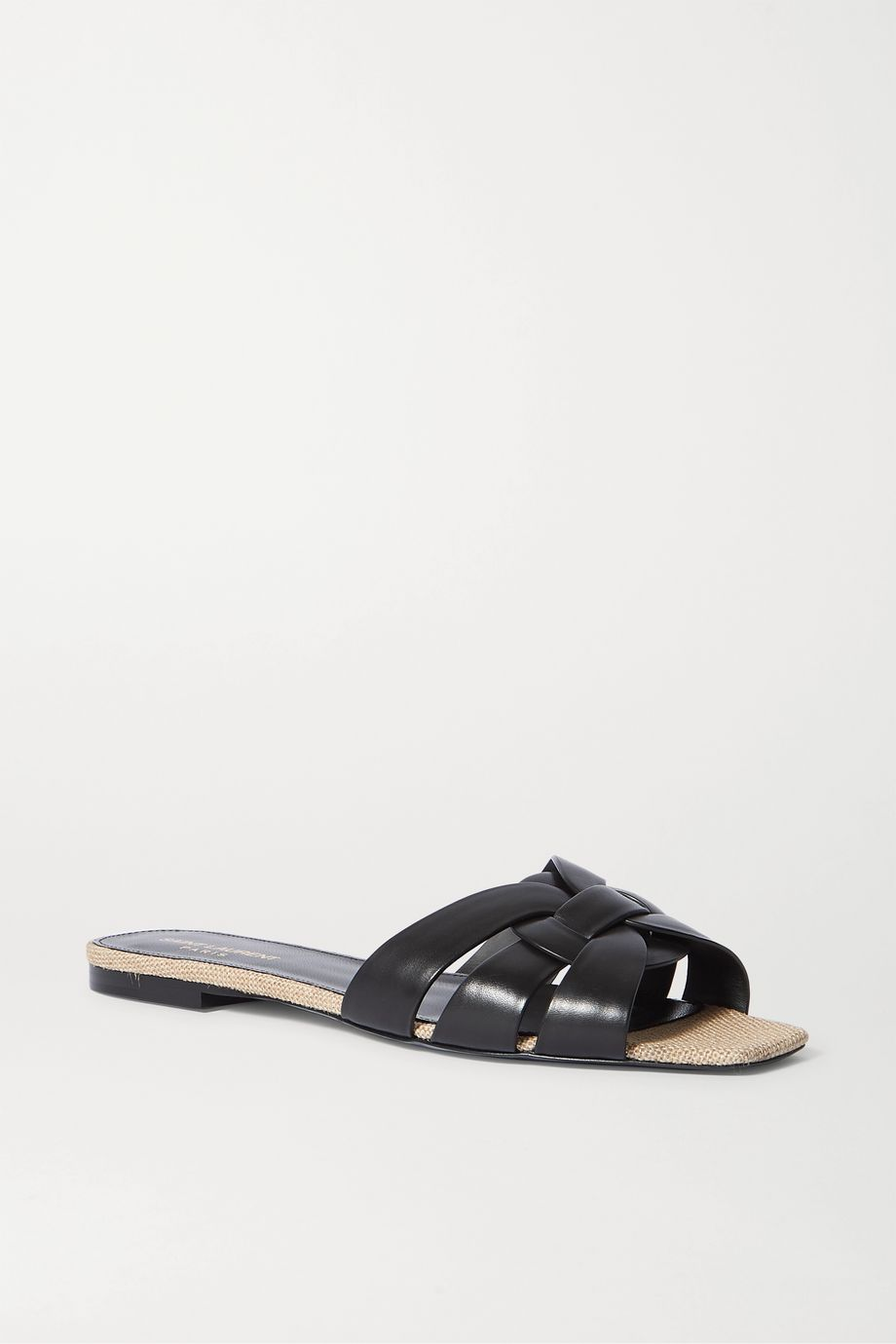 SAINT LAURENT Nu Pieds woven leather and canvas slides
