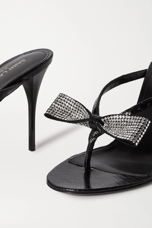 SAINT LAURENT Sandales en cuir effet croco à cristaux Lexi