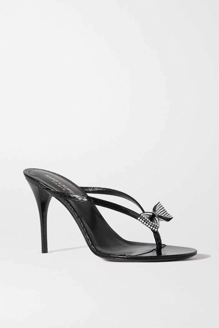 SAINT LAURENT Lexi crystal-embellished croc-effect leather sandals