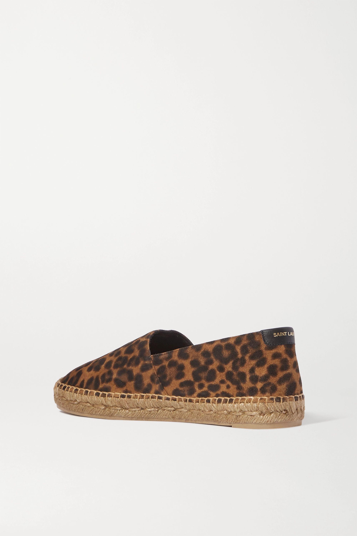 SAINT LAURENT Leopard-print suede espadrilles