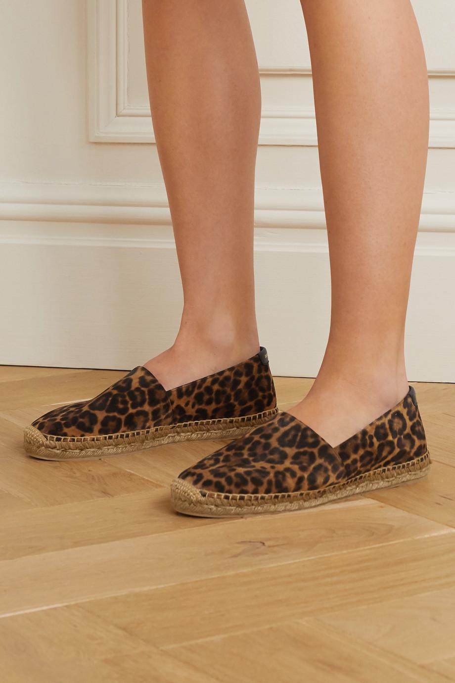 SAINT LAURENT 豹纹绒面革麻底鞋