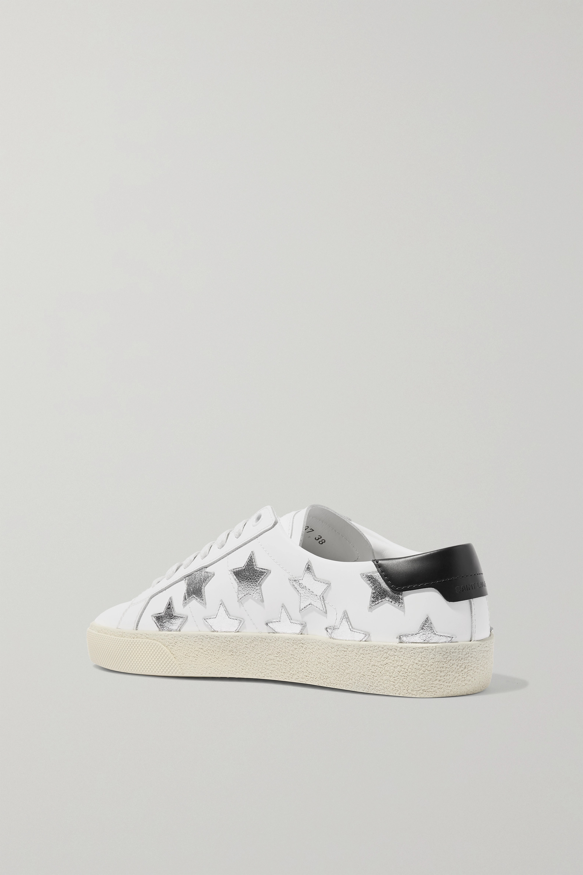 SAINT LAURENT Court Classic Sneakers aus Leder mit Metallic-Applikationen