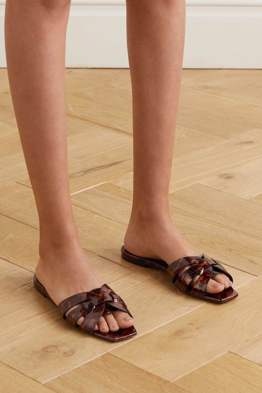 SAINT LAURENT Nu Pieds woven tortoiseshell-effect patent-leather slides