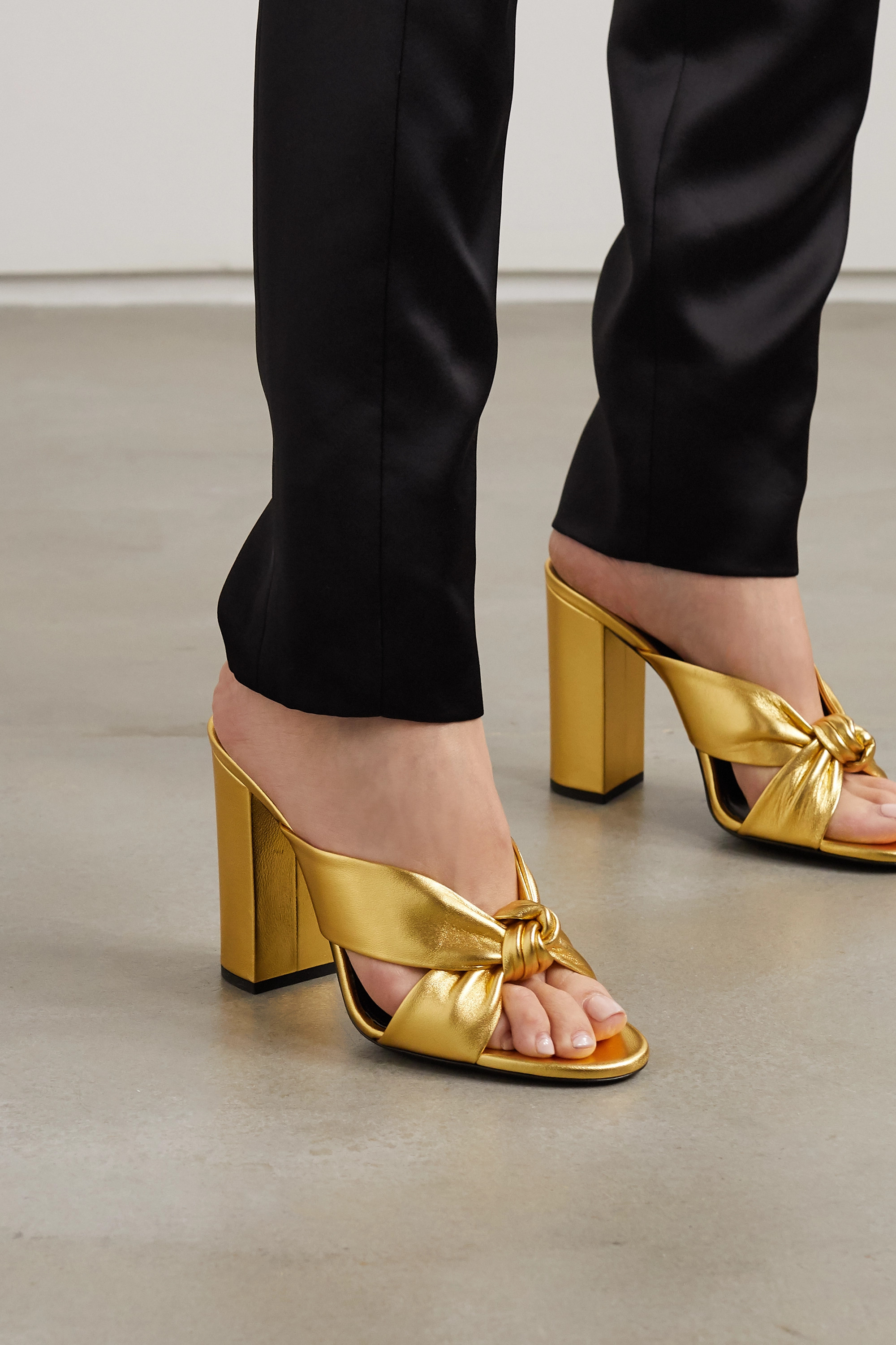 SAINT LAURENT Bianca knotted metallic leather sandals