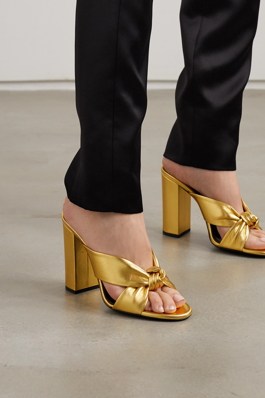 SAINT LAURENT Bianca knotted metallic leather sandals