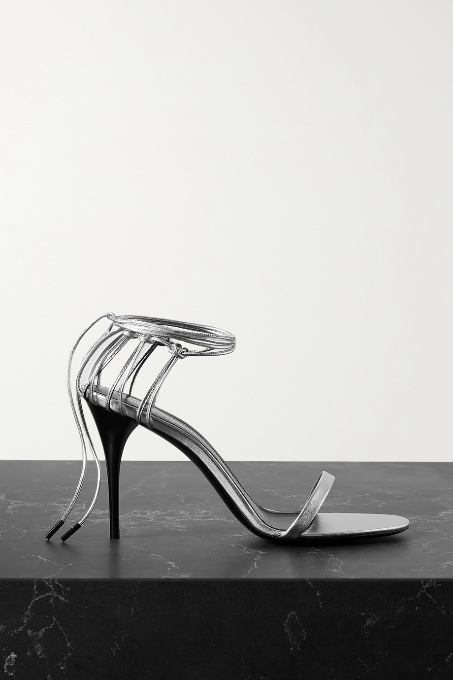 SAINT LAURENT Lexi metallic leather sandals