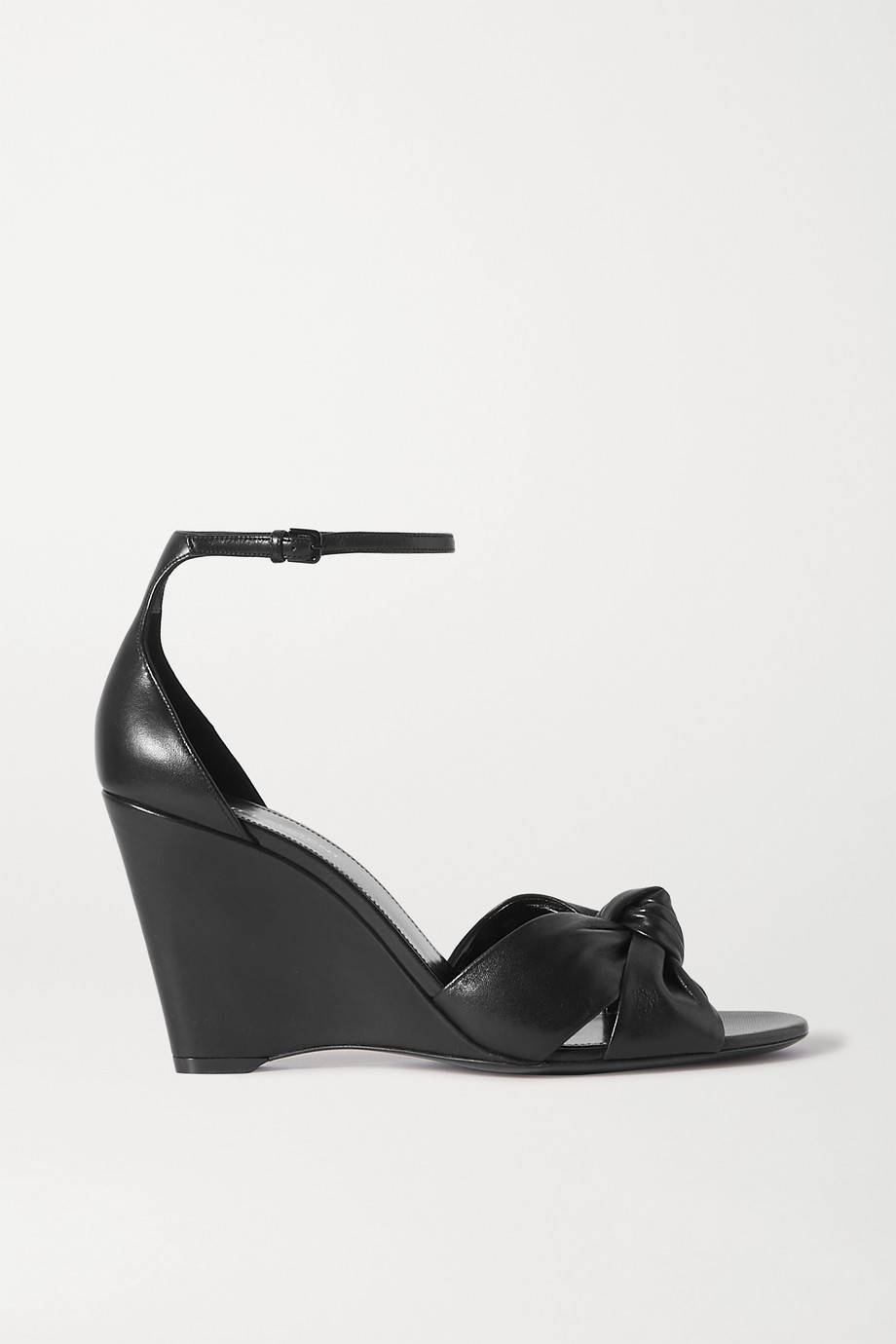 SAINT LAURENT Bianca knotted leather wedge sandals