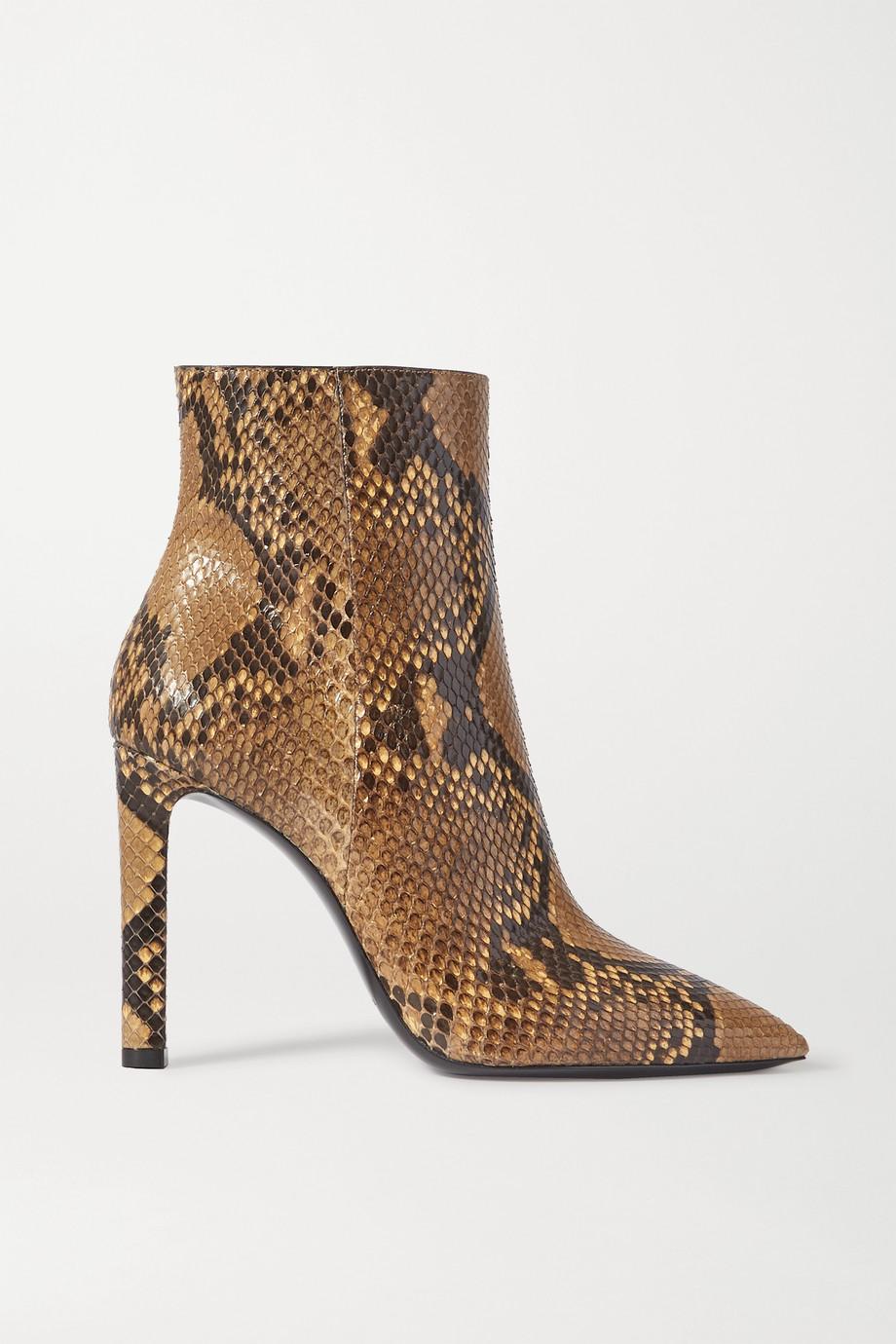 SAINT LAURENT Grace python ankle boots