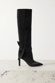 Grace bow-embellished suede knee boots