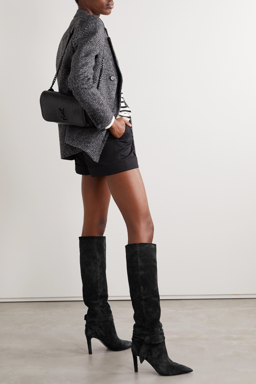 SAINT LAURENT Grace bow-embellished suede knee boots