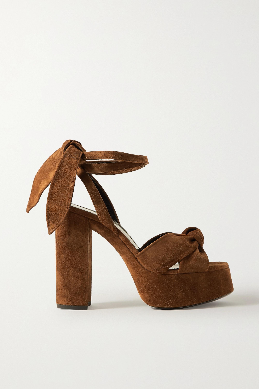 SAINT LAURENT Bianca knotted suede platform sandals
