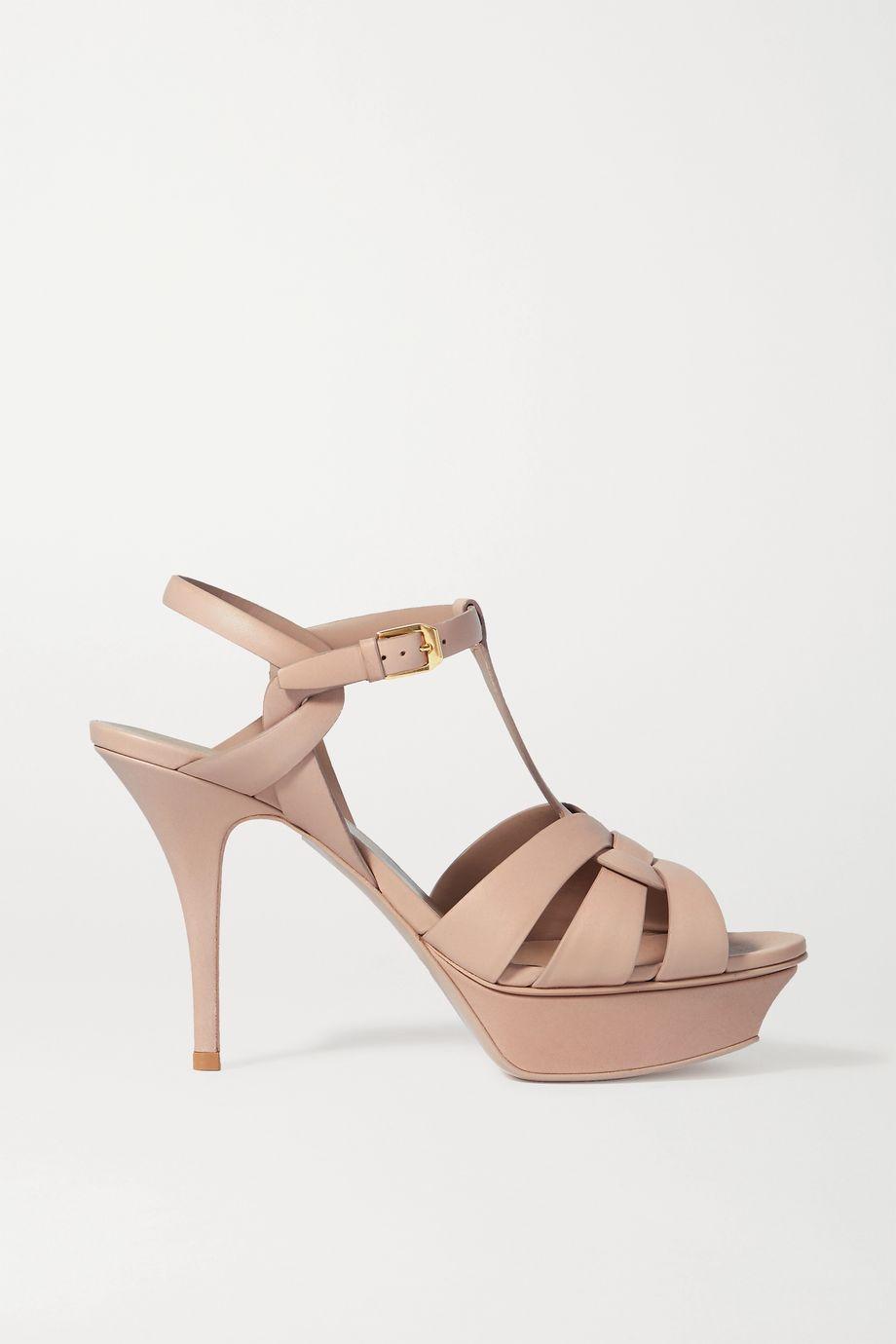 SAINT LAURENT Tribute woven leather platform sandals