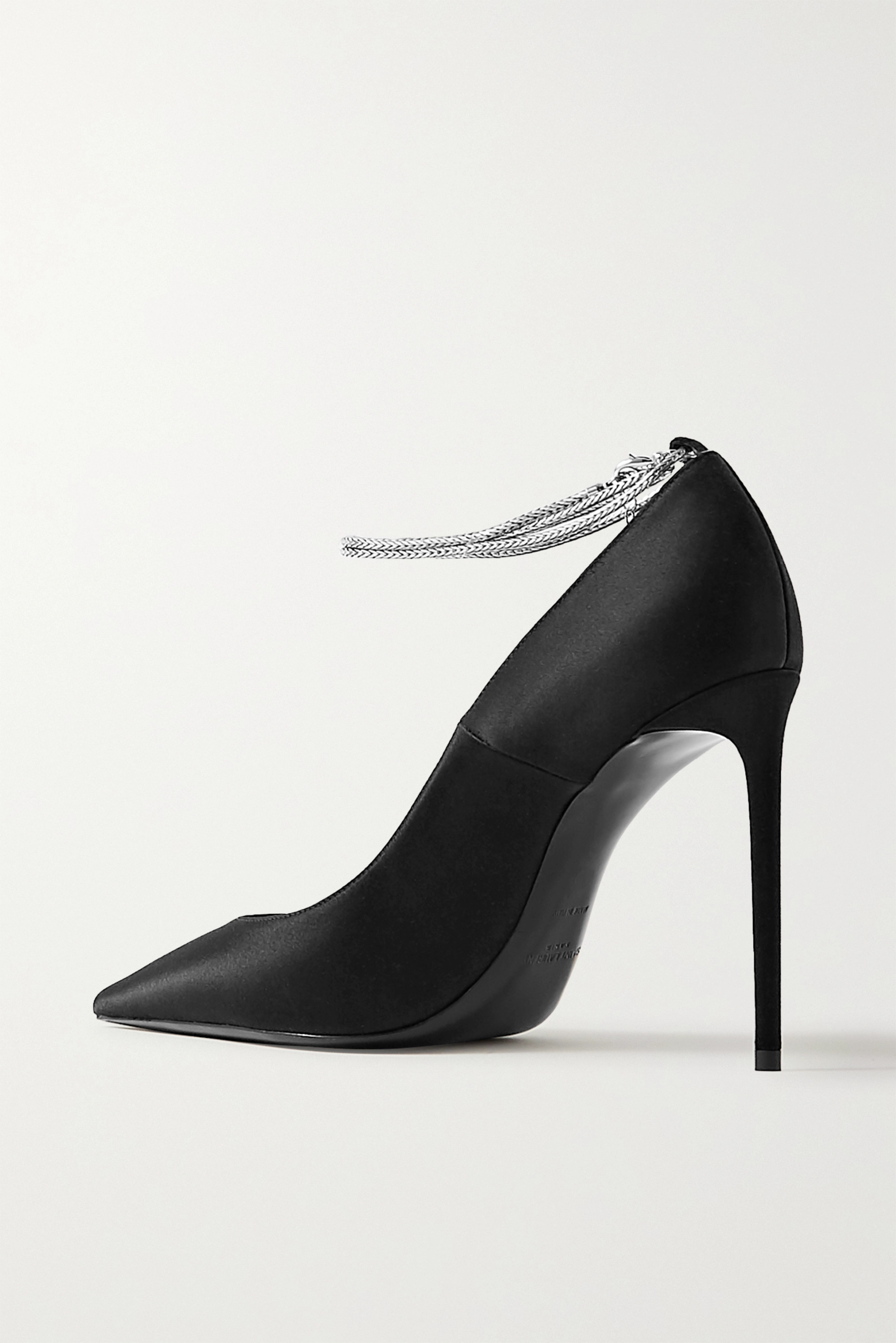 SAINT LAURENT Zoe chain-embellished satin pumps