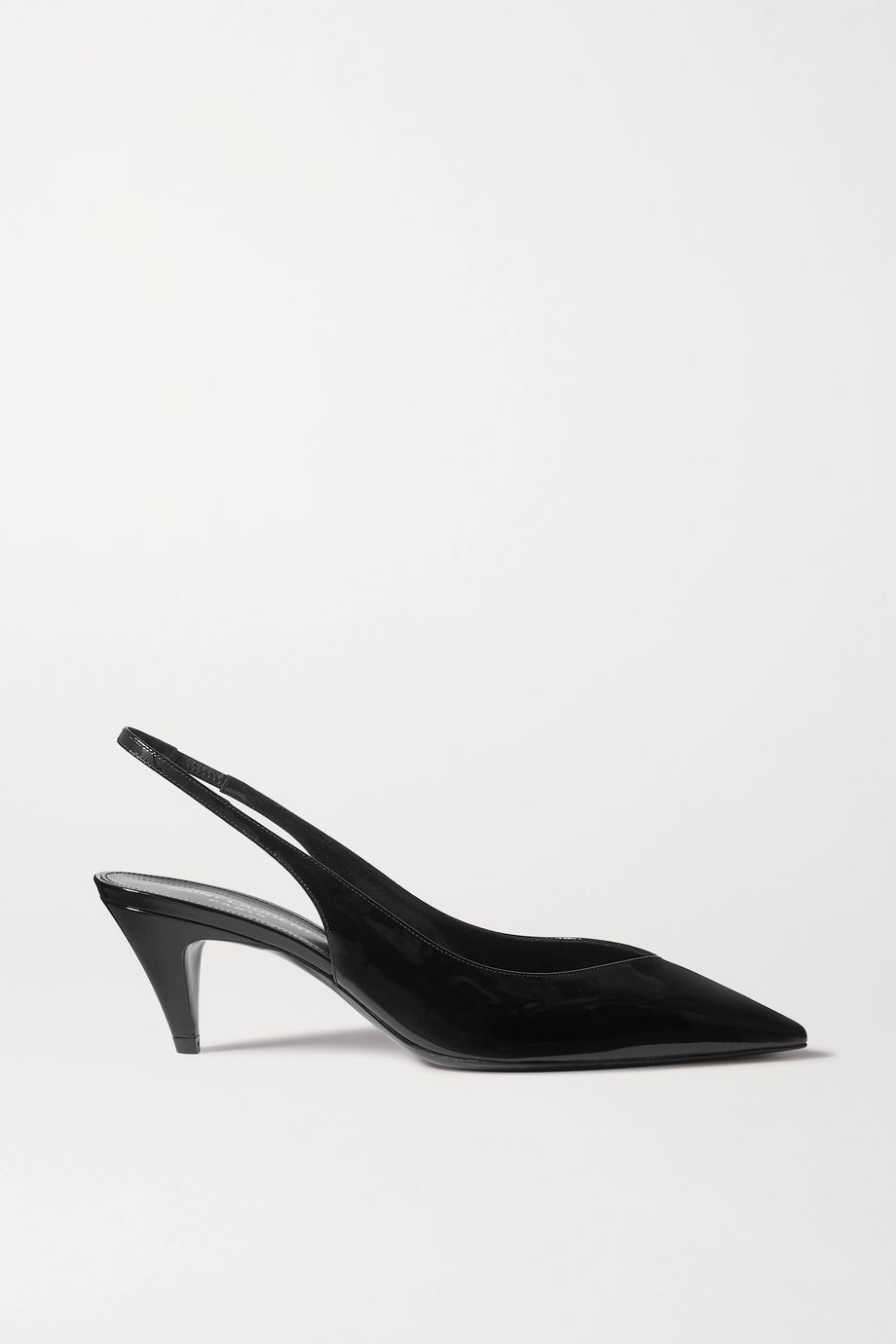 SAINT LAURENT Kiki patent-leather slingback pumps