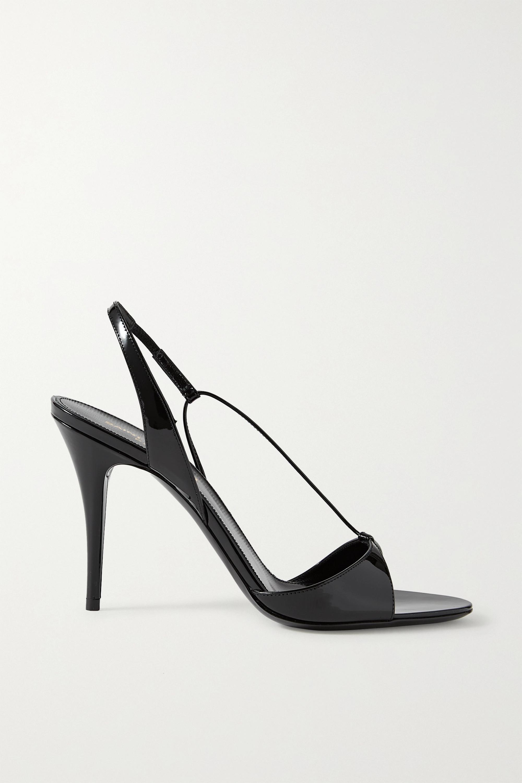 SAINT LAURENT Anouk patent-leather slingback sandals