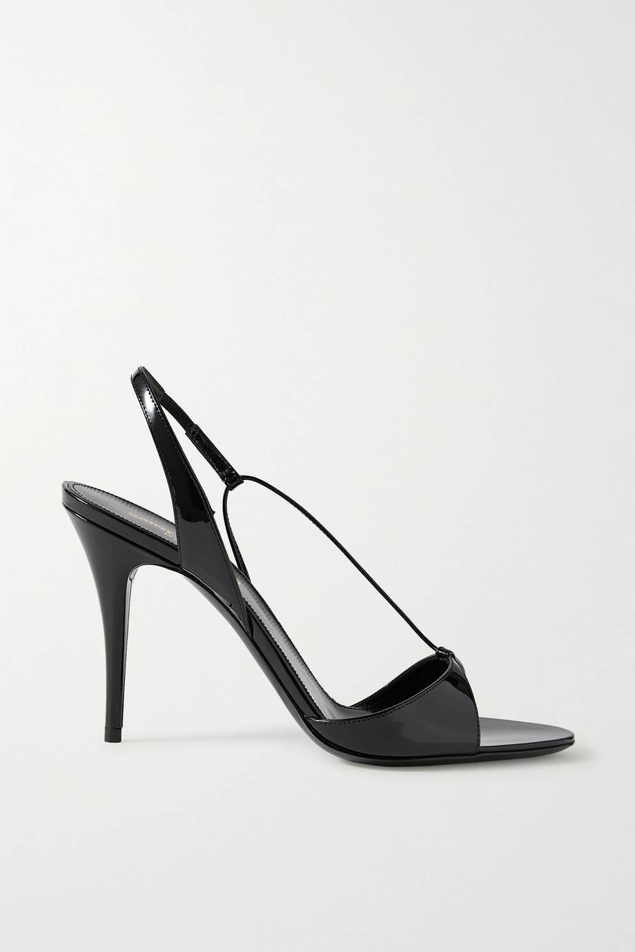 SAINT LAURENT Anouk patent-leather slingback sandals
