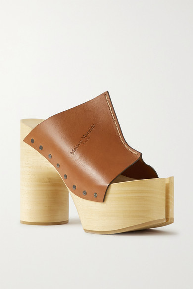 Maison Margiela Tabi Leather Platform Sandals In Tan