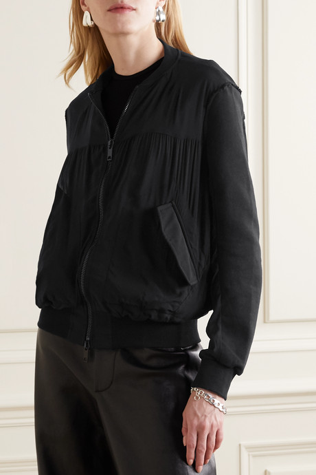 Silk-blend crepe de chine and cotton-terry bomber jacket