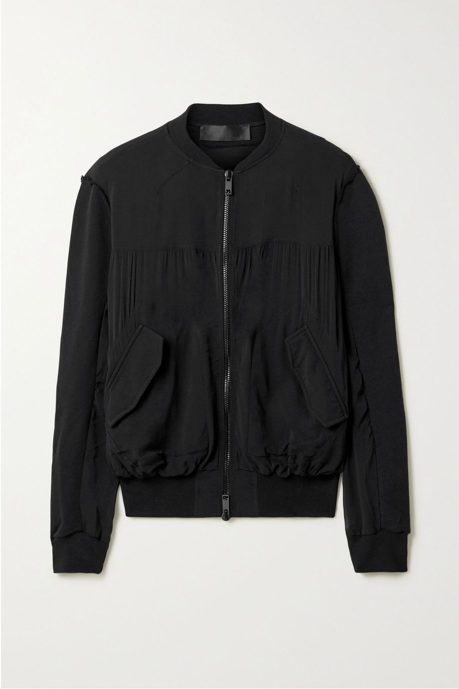 Haider Ackermann Silk-blend crepe de chine and cotton-terry bomber jacket