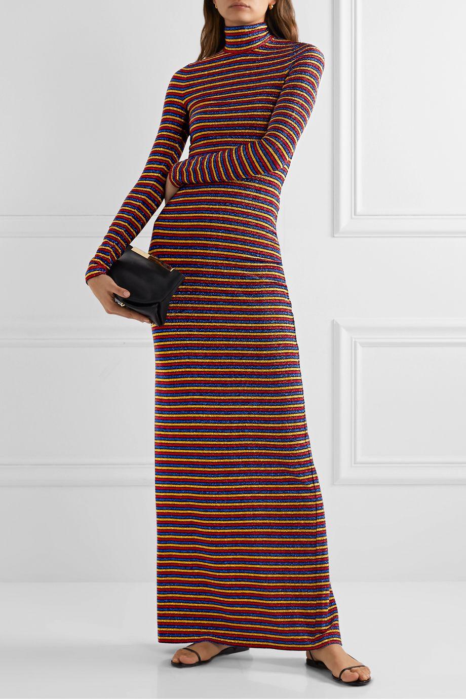 Rosetta Getty Metallic striped stretch-knit turtleneck maxi dress