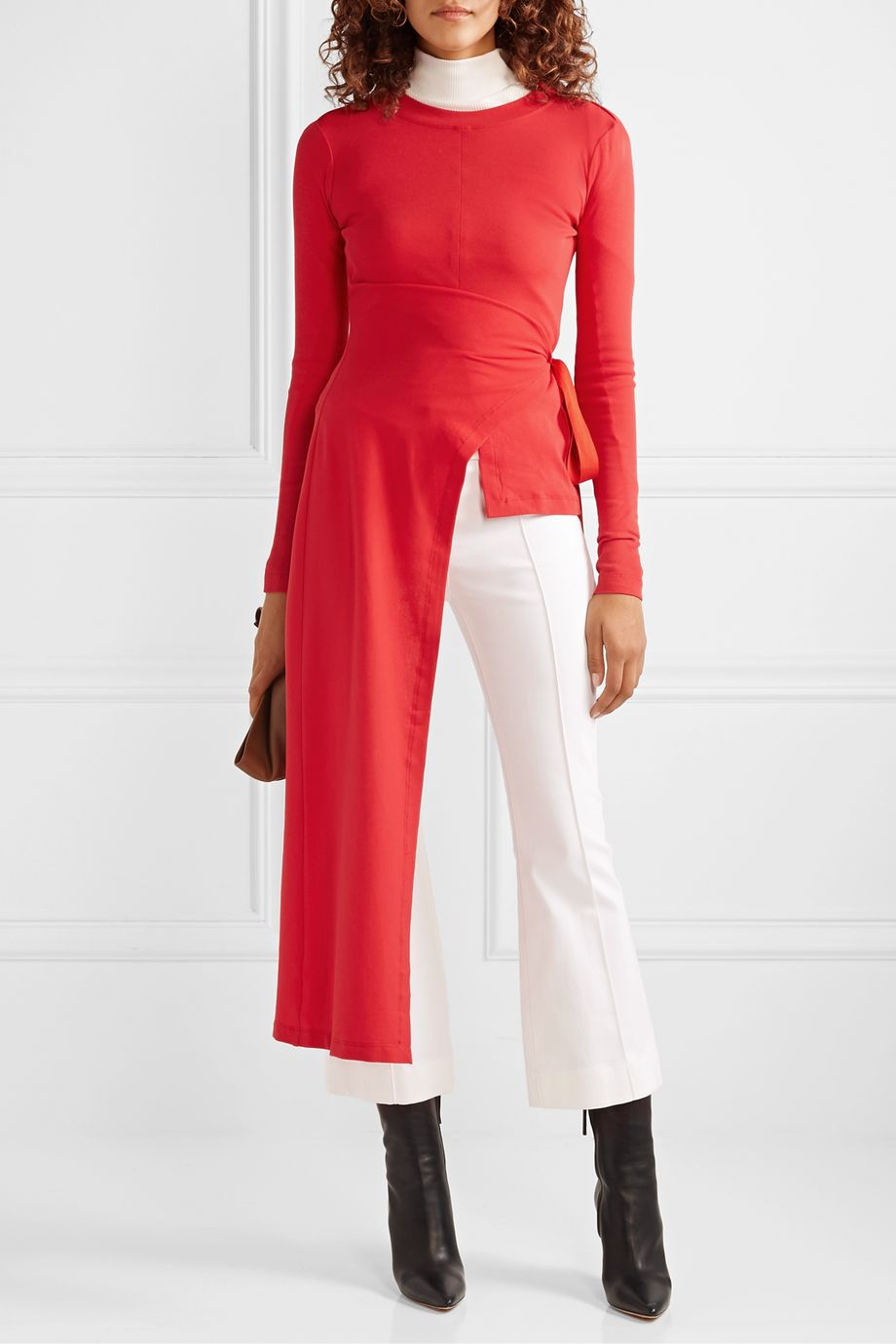 Rosetta Getty Draped asymmetric stretch-cotton jersey wrap top