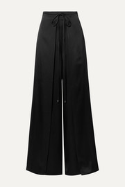 Tie-front layered satin wide-leg pants