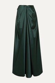 Twist-front satin maxi skirt