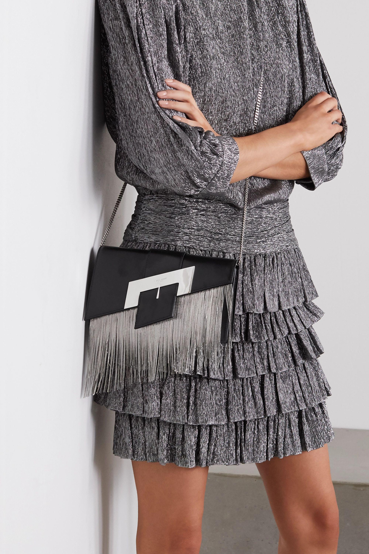 SAINT LAURENT Buckle Schultertasche aus Leder mit Verzierungen