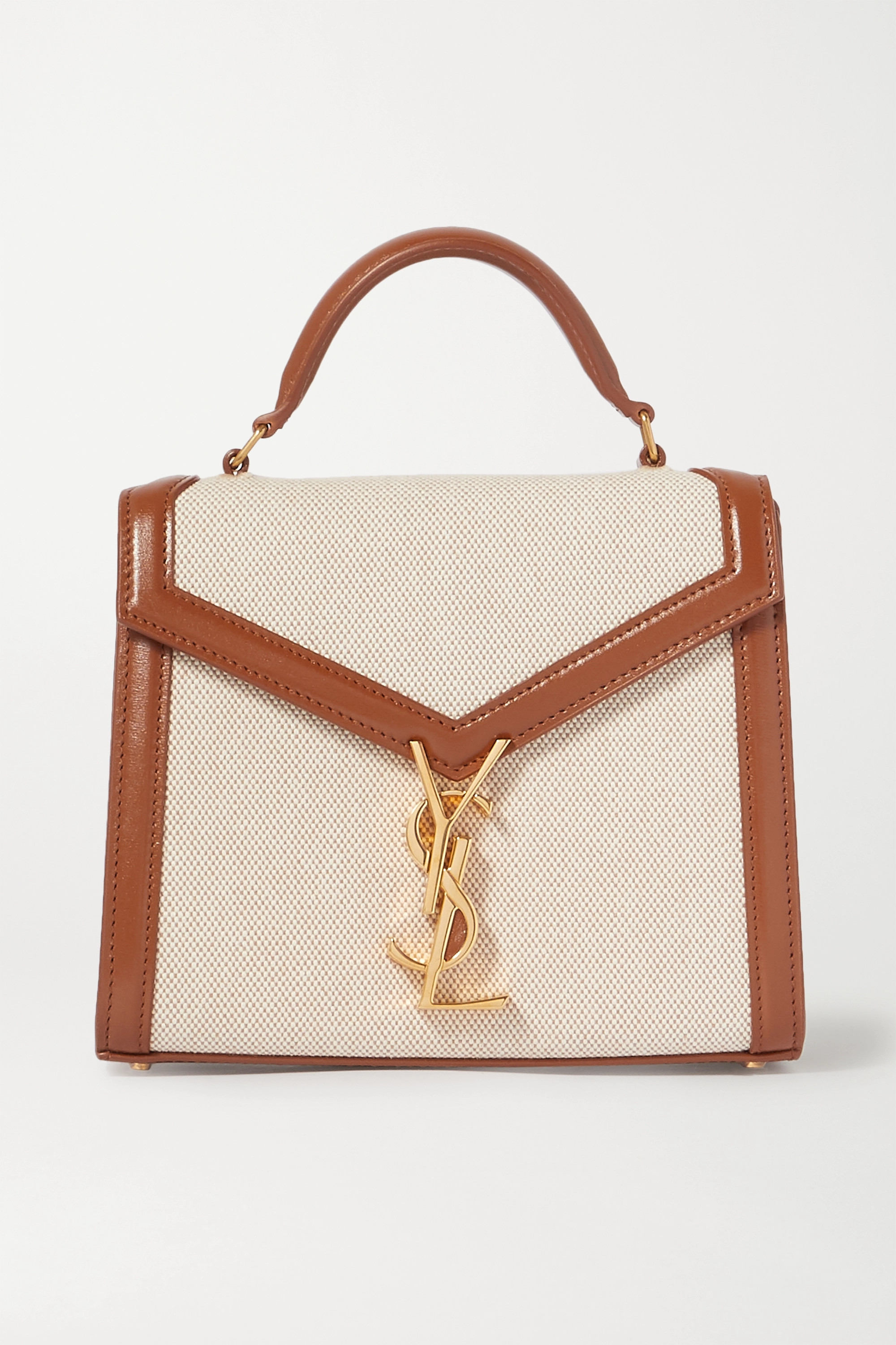 Mini Leather Trimmed Canvas Tote