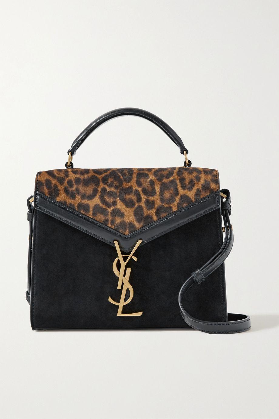 SAINT LAURENT Cassandra mini leopard-print suede and leather shoulder bag