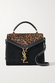 SAINT LAURENT Cassandra mini leopard-print suede and leather shoulder bag