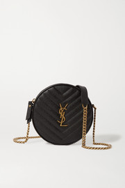 SAINT LAURENT Circle quilted textured-leather bag