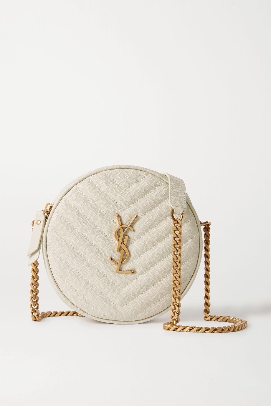 SAINT LAURENT Circle quilted textured-leather shoulder bag