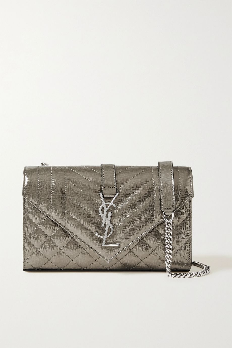 SAINT LAURENT Envelope small quilted metallic textured-leather shoulder bag