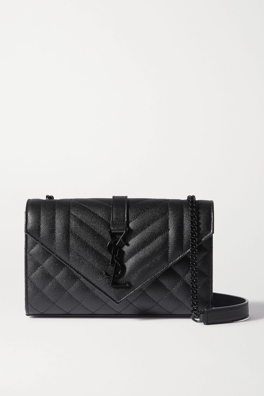 SAINT LAURENT Envelope small quilted textured-leather shoulder bag