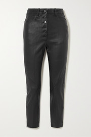 Ann Demeulemeester Cropped lace-up leather skinny pants